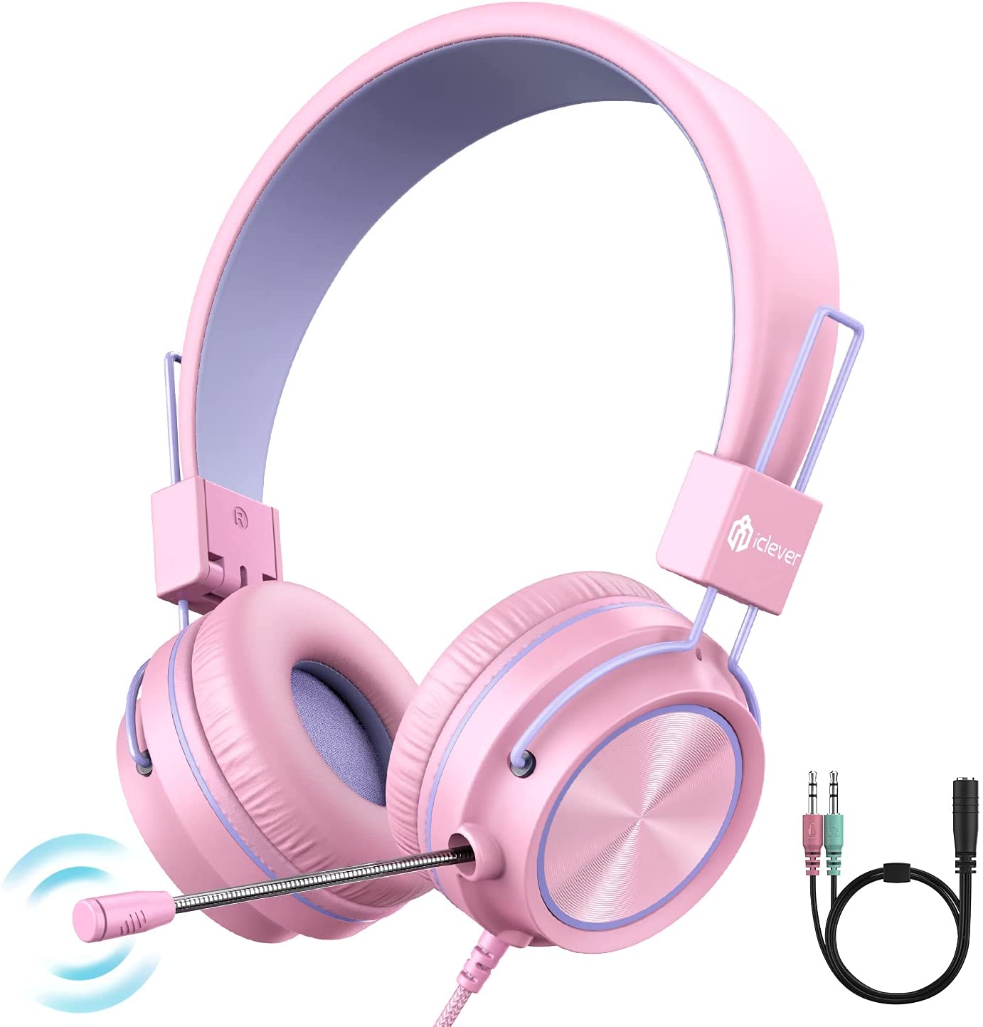 iClever HS21 Kids Headphones with Microphone for School- Rotatable Extendable Mic - 94 dB Volume-Safe Headphones for Kids, Wired Foldable Kids Gaming Headset for PS4/Xbox One/Switch/PC/Tablet, Pink