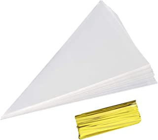 """Cone Bag 100 PCS Clear Cello Treat Bags Popcorn Bags 7"""" by 15"""" Triangle Goody Bags with Twist Ties for Candies Handmade Cookies (100 Large)"""