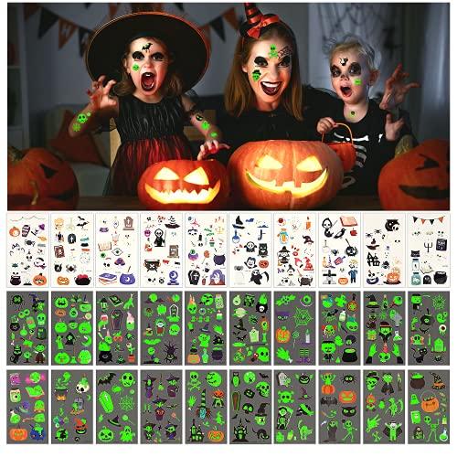 Tatuaggi di Halloween per Bambini, 30 Fogli Tatuaggi Temporanei di Halloween, Luminosi Halloween Tatuaggi Set Tatuaggi Temporanei per Bambini, Adesivo Luminoso Impermeabile Decorazioni di Halloween