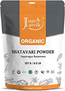 Just Jaivik 100% Organic Shatavari Powder, Usda Organic, 1/2 Pound / 227G, Asparagus Racemosus, Rejuvenative For Vata And ...