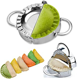 Stainless Steel Dumpling Maker Dumpling Press Dough Cutter Ravioli Empanada Pierogi Press Mold Dumpling Cut Pierogi Wrapper Pastry Tools Pot Sticker Kitchen Accessories (9.5cm/3.74