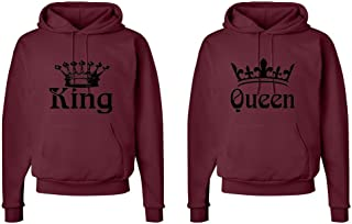 Matching His & Hers Couple Hooded Sweatshirt Set - King and Queen Crowns