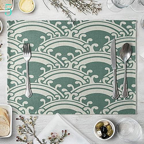 Banemi Juego de 4 Salvamanteles Individuales, Patrón Geométrico Lino de Algodón Mantelitos Individuales, Verde Blanco, 40 x 30 cm