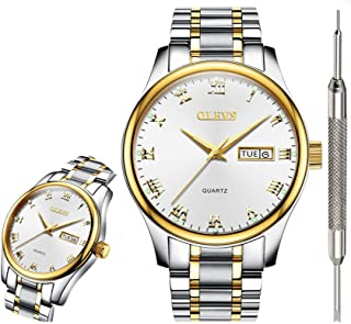 Classic Watches Analog Quartz Watch with Stainless Steel Band Rugged Waterproof Watches Roman Numeral Unique Calendar Date Window Business Wrist Watch