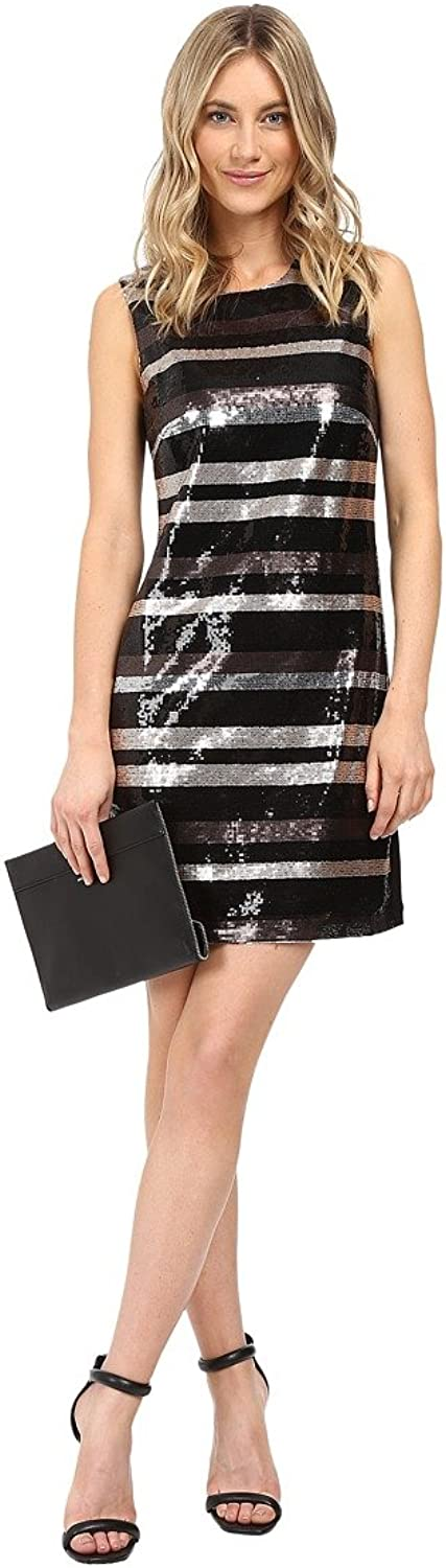 Laundry by Shelli Segal Womens Sequined Striped Cocktail Dress