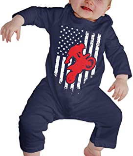 Mri-le1 Baby Girls Organic Coverall Lineman Powerline Technician American Flag Baby Clothes