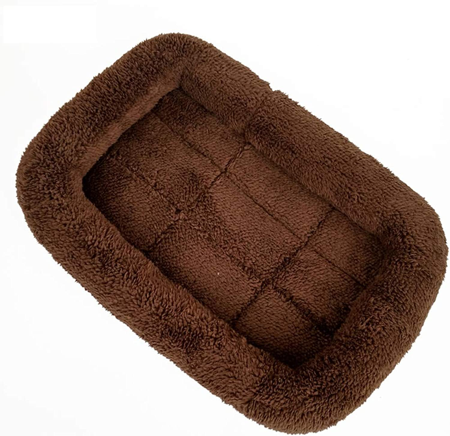 Kennel QIQIDEDIAN Cat Litter Pet Nest Dog Pad Teddy Cat Mat Pet Nest Dog Mattress Puppy Dog Supplies Dog Pad (color   Brown, Size   M 27  40cm)