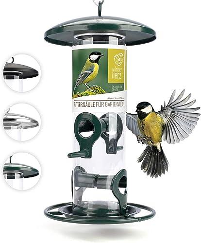 Mangeoire Oiseaux Exterieur 26cm - Distributeur Graines Oiseaux, Mangeoire à Oiseaux Distributeur Suspendu Imperméabl...