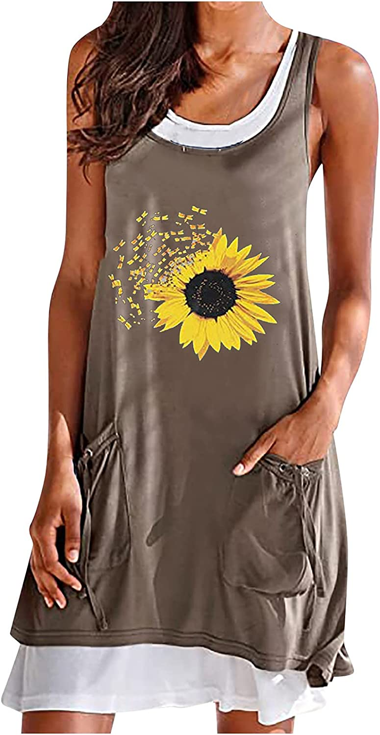 Plus Size Dresses for Women, Beach Floral Tshirt Sundress with Pockets Round Neck Sleeveless Casual Tank Dress