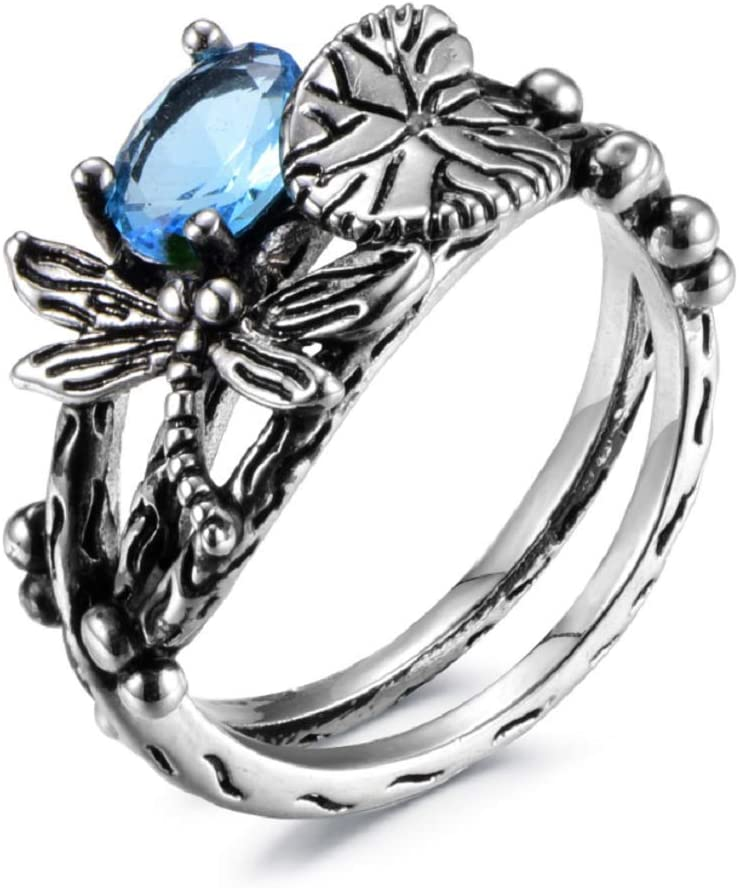Finemall Fashion Women 925 Silver Blue Topaz Dragonfly Ring Wedding Party Jewelry Gift Promise Halo Engagement Ring Wedding Band Ring for Women Size 6-10 US Code 6