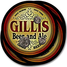 ZuWEE Brand Classic Beer & Ale Coaster Set Personalized with the Gillis Family Name