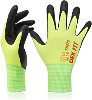 DEX FIT Neon Green Gardening Gloves FN320, 3D Comfort Stretch Fit, Power Grip, Thin Lightweight, Durable Foam Nitrile Coating, Machine Washable, Large 3 Pairs