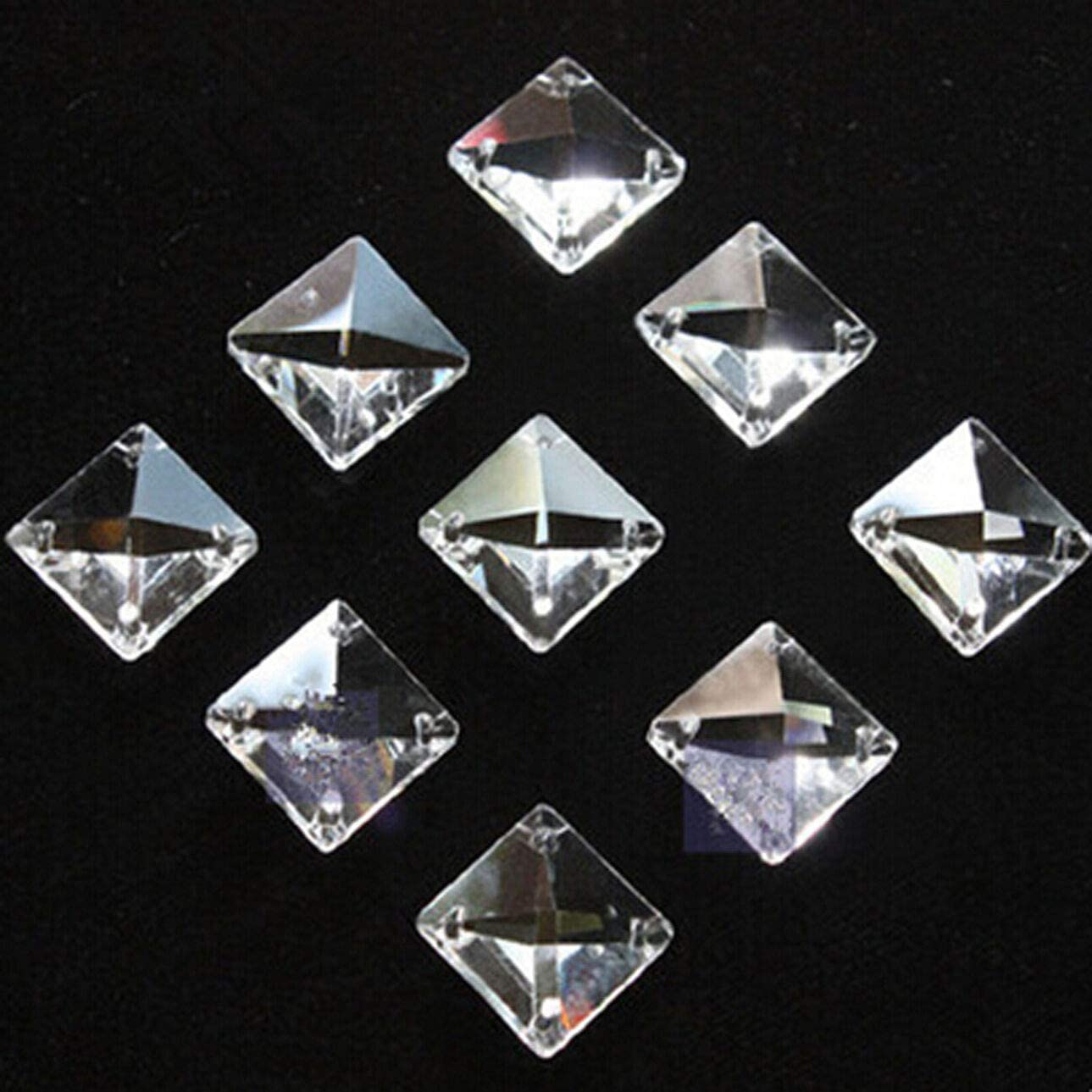 Home Decor A surprise price is realized 50pcs 14mm 4 Holes Beads mart Square Glass Crystal Prisms