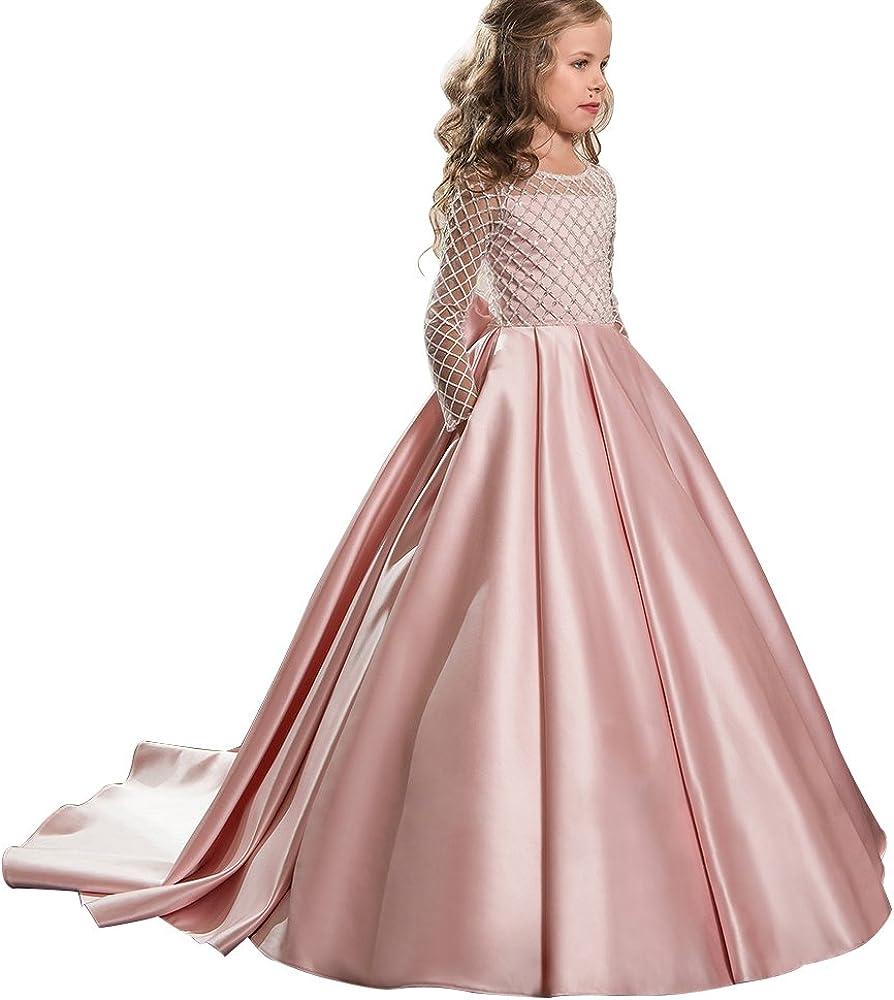 Christmas Flower Girl Max 42% OFF Dress Floor Button Tulle Bal Cheap SALE Start Draped Length