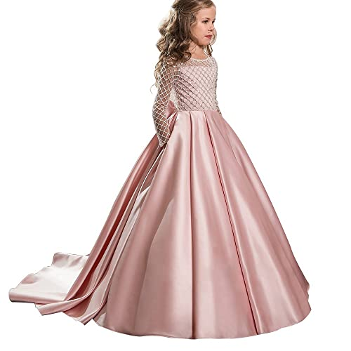 19a1c520f4c2 Christmas Fancy Flower Girl Dress Floor Length Button Draped Pink Long  Sleeves Tulle Ball Gowns for