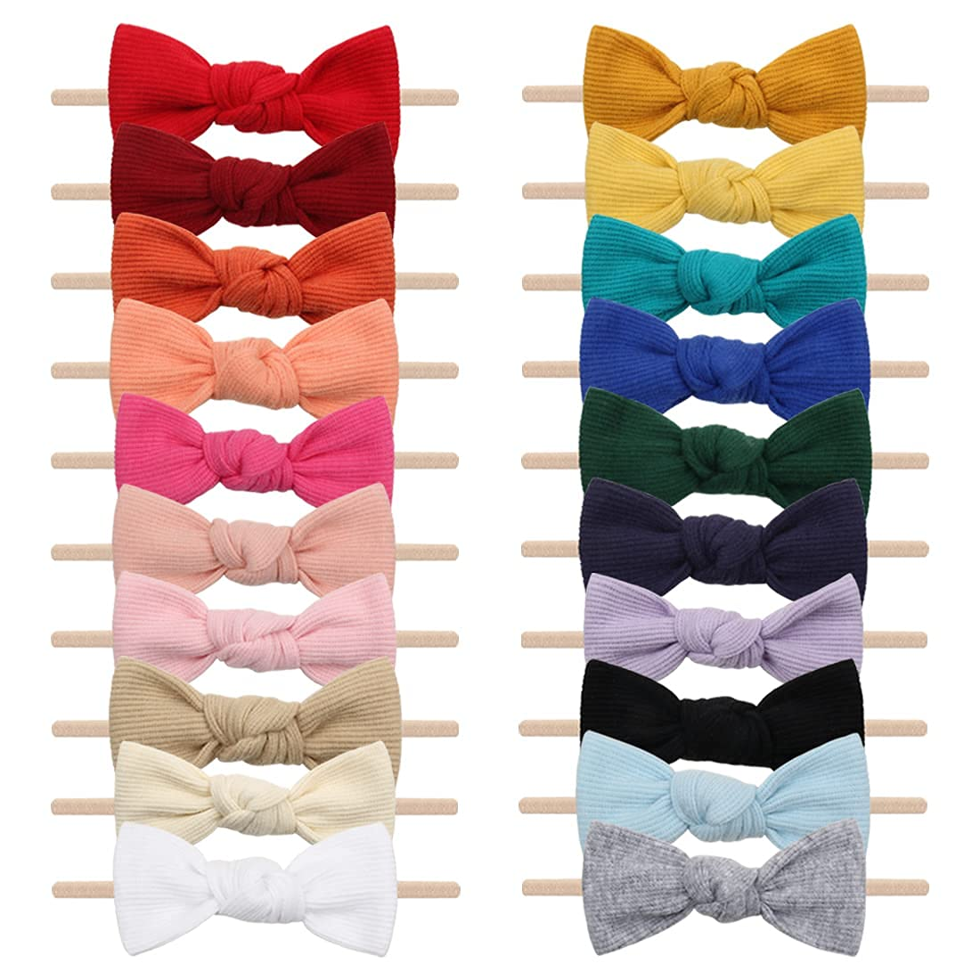 Lanmerry Baby Nylon Headband with Tied Bow Colorful Pack of 20