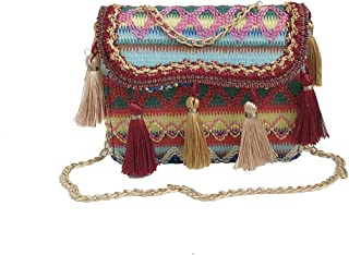 Shoulder Messenger Bag 2019 New Fashion Beach Holiday Straw Fringe Pendant Shoulder Bag(fenmei),Red