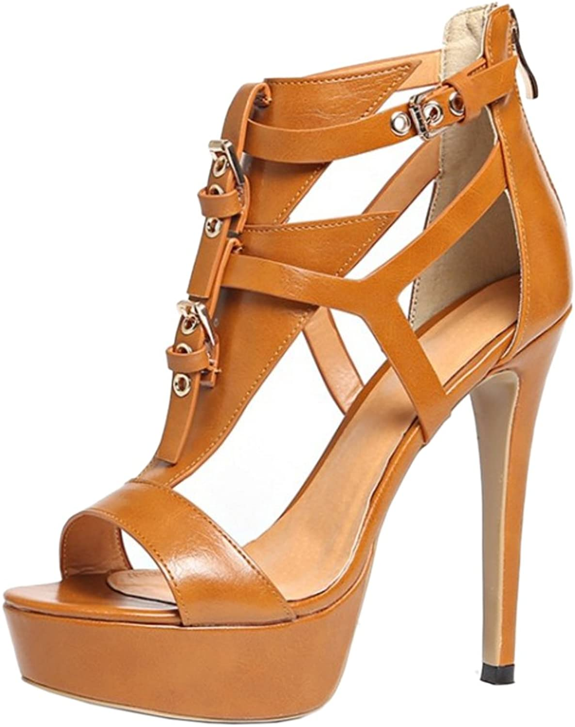 RizaBina Women Classical Peep Toe Sandals Stiletto High Heel Platform Strappy shoes