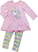 So Sydney Toddler Girls 1, 2 3 Pc Unicorn Print Tunic Top, Leggins, Infinity Scarf Tutu Outfit