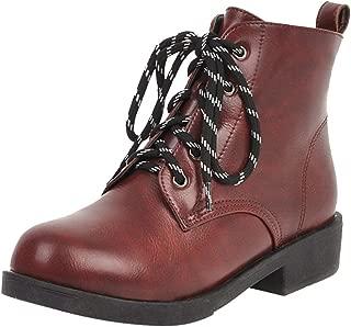 ELEEMEE Women Flat Martin Boots Lace Up