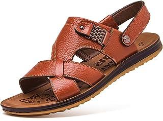 YVWTUC Męskie letnie skórzane sandały buty plażowe na co dzień modne kapcie wodoodporne