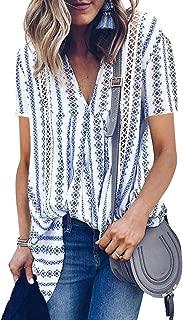 Nlife Women Bohemian Short Sleeve V Neck Cut Out Floral Print Asymmetric Hem Shirt Tops Blouse