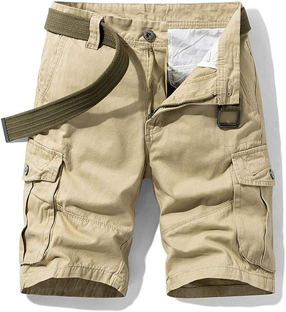 R-Hansets Men's Baggy Multi Pocket Military Cargo Shorts Cotton Khaki Tactical Shorts Short Pants Khaki 32