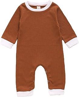 الوليد الطفل رومبير كم طويل مخطط الصلبة عارضة بذلة طفل الرضع playsuit الاطفال ازياء الملابس (Color : Brown, Kid Size : 18M)