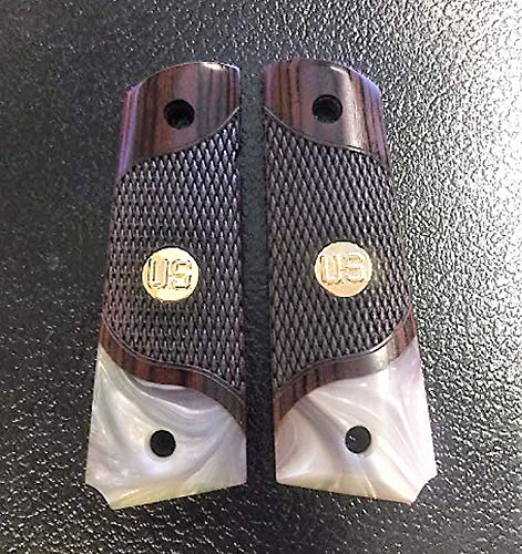 Premium Gun Grips Compatible Replacement for 1911 Grips Full Size Double Diamond Checkered Rosewood Faux Pearl Accent US Gold Tone Medallion
