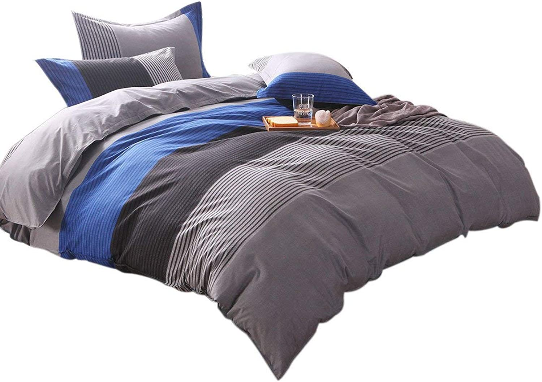 Double Size, bluee Stripe   Lightweight Microfiber Duvet Cover Sets, Printing Duvet Cover Set 3pcs Bed Sets (Double Size, bluee Stripe)