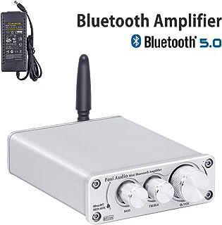 Fosi Audio BT10A Receptor amplificador de audio estéreo Bluetooth 5.0, 2 canales clase D Hi-Fi integrado TPA3116 Amp, para altavoces domésticos de 50 W x 2, con fuente de alimentación de 19 V 4.74A