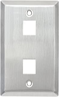 AllChinaFiber Faceplate 1-Gang Jack 2-Port Stainless Keystone Wall Plate, silver