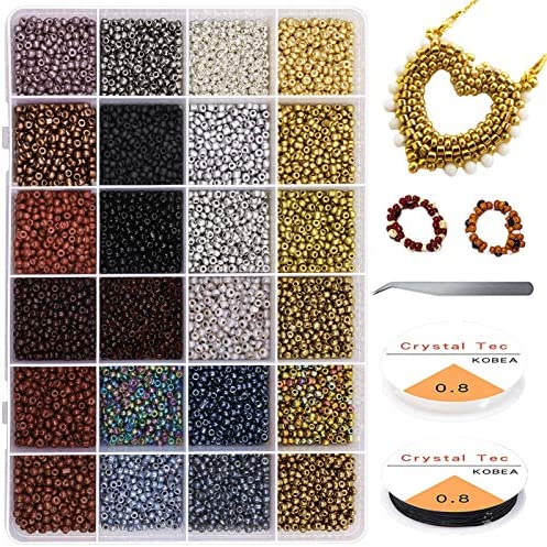 4800Pcs 8 0 Glass Pony Seed Beads Kit Gacuyi 24Colors 3mm Small Craft Beads for DIY Bracelet product image