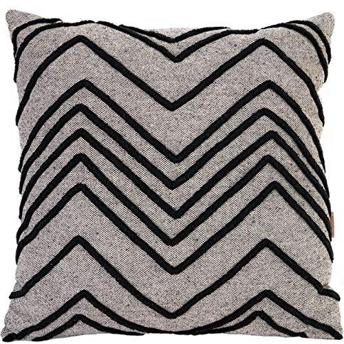 Miqio Cuscino decorativo intrecciato a mano con etichetta in vera pelle (cuscino per divano 'Malmö' con cuscino interno) 50 x 50 cm