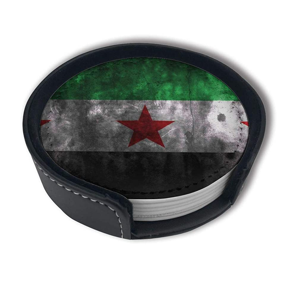 HBLSHISHUAIGE 3D Syria Flag Coasters with Holder Set,Round Mugs and Cups Mat Pad for Drinks,Suitable for Home and Kitchen(6PCS)