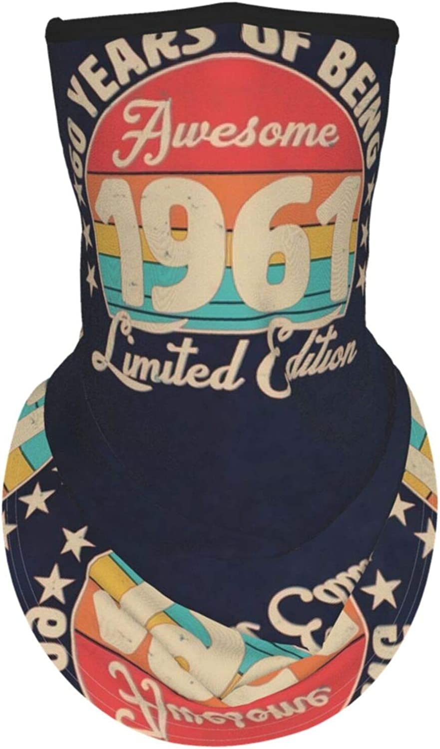 Ear Hangers Face Balaclava Awesome Limited Edition 1961 Birthday Vintage Navy Protective Cover Wristband Bandanas Neck Gaiter Dust-Proof,Anti-Pungent Gas,Washable