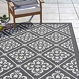Gertmenian 22273 Outdoor Rug Freedom Collection Nautical Themed Smart Care Deck Patio Carpet, 8x10 Large, Diamond Flower Border Black White