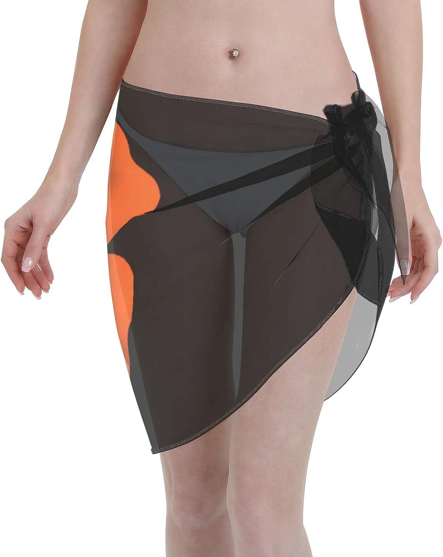 Irish Flag Shamrock Women Short Sarongs Beach Wrap Sheer Bikini Wraps Chiffon Cover Ups for Swimwear Sexy Wrap Around Dress Black