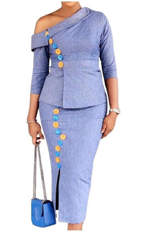 Nicellyer 女性2片傾斜肩純粋なolスキニー経歴は、服を縫います