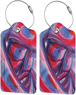 Printed luggage tag Flower Decor Spring Season Vivid Florals Red Poppies Watercolor Print Protect personal privacy Hot Pink Light Green and White W2.7 x L4.6