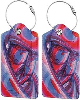 Flexible luggage tag Modern Decor Abstract Retro Vintage Stripes Lines Geometrical Print Fashion match Light Pink Grey White and Mauve W2.7 x L4.6