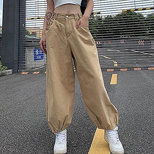 LKHJ Pantalones Cargo Caqui de Gran tamaño Estilo Hip Hop Suelto Cintura Ajustable con cordón pantalón Largo Y2K Streetwear 90s otoño-Color café_S