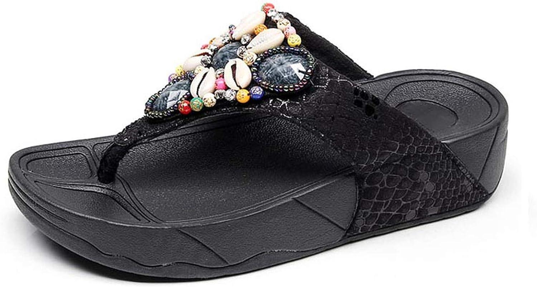 ZHOUZJ Women Flip Flops Summer Beach shoes Bohemian Platform Slippers for The Seaside