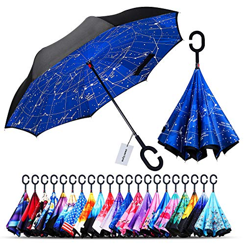 Owen Kyne Windproof Double Layer Folding Inverted Umbrella, Self Stand Upside-down Rain Protection Car Reverse Umbrellas with C-shaped Handle (Constellation 1)
