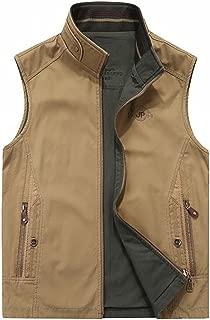 Men's Reversible Cotton Outdoor Travel Vest with Pockets