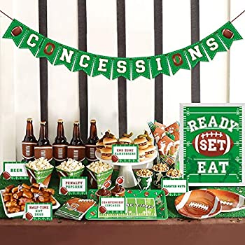 Football Concessions Bar Decoration Kit - Concession Stand Banner Sign Snack Tents for Football Party Supplies Football Games Family Gathering Party Sport Sunday Game Day Sports Fan Decor