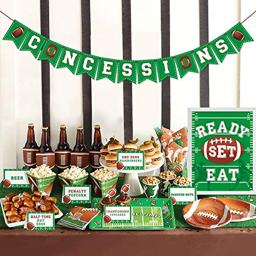 Football Concessions Bar Decoration Kit - Concession Stand Banner Sign Snack Tents for Football Party Supplies Super Bowl Games Family Gathering Party, Super Bowl Sunday, Game Day Sports Fan Decor