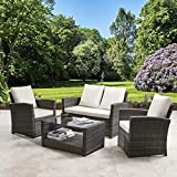 General Packaging Rattan <span class='highlight'>Garden</span> Furniture 4 Piece Patio Set Wicker Weave Table <span class='highlight'>Chairs</span> Outdoor Conservatory (Grey with Cream)