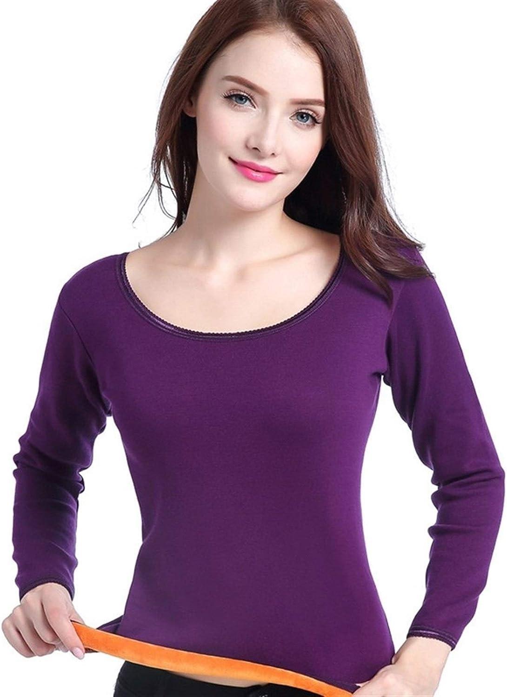 QWERBAM Women's Clothing Plus Size Thermal Underwear Women Winter Warm Two Piece Set Underwear Female Clothes (Color : Violet, Size : L.)
