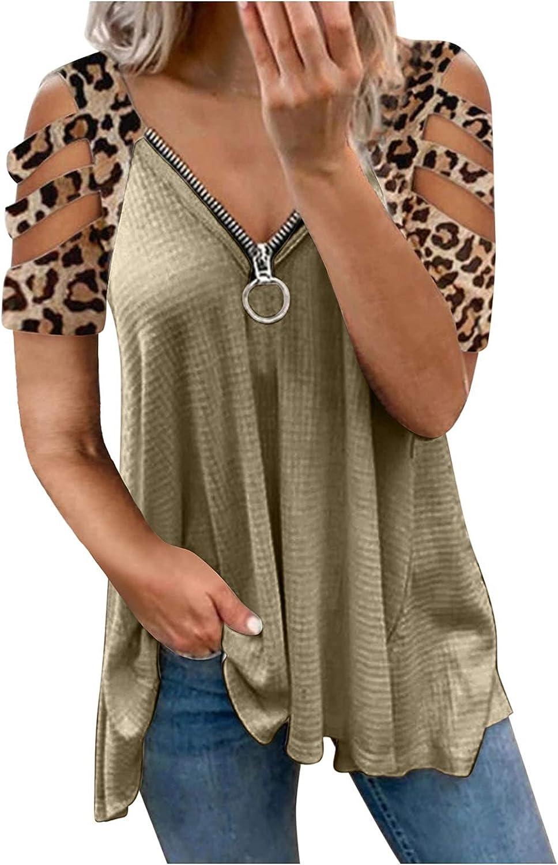 Womens Cut Out Shoulder Short Sleeve Zip Low Cut V Neck Tunic Tops Solid Leopard Diamond Print Novetly Shirt